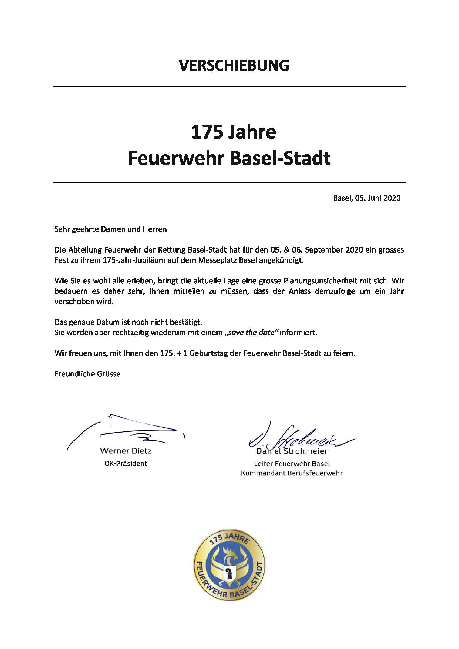 175 Jahre Feuerwehr Basel wird verschoben!